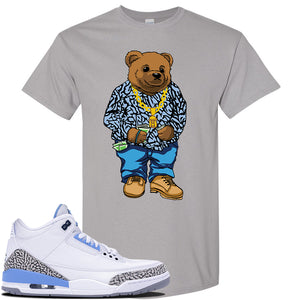 Air Jordan 3 UNC Sneaker Gravel T Shirt | Tees to match Nike Air Jordan 3 UNC Shoes | Sweater Bear