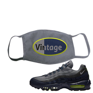 Air Max 95 Midnight Navy / Volt Face Mask | Solid Charcoal, Vintage Oval