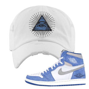 Air Jordan 1 High Hyper Royal Distressed Dad Hat | All Seeing Eye, White
