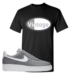 Air Force 1 Low Wolf Grey White T Shirt | Black, Vintage Oval