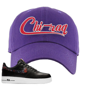 Air Force 1 Low Black Floral Dad Hat | Chiraq, Purple