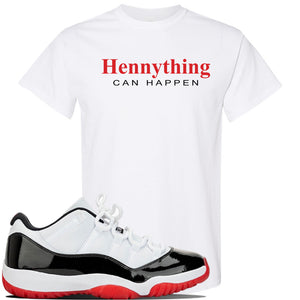 Jordan 11 Low White Black Red Sneaker White T Shirt | Tees to match Nike Air Jordan 11 Low White Black Red Shoes | HennyThing Is Possible
