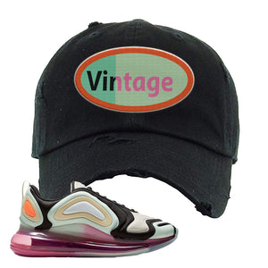 Air Max 720 WMNS Black Fossil Sneaker Black Distressed Dad Hat | Hat to match Nike Air Max 720 WMNS Black Fossil Shoes | Vintage Oval