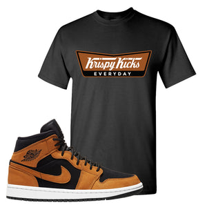 Air Jordan 1 Mid Wheat T Shirt | Krispy Kicks, Black