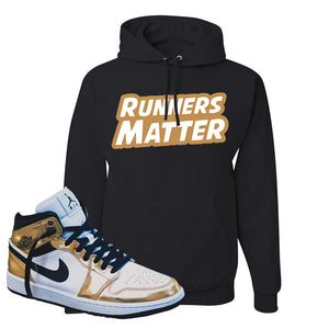Air Jordan 1 Mid SE Metallic Gold Hoodie | Runners Matter, Black