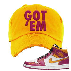 Air Jordan 1 Mid Familia Distressed Dad Hat | Got Em, Gold