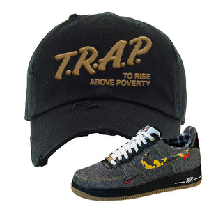 Air Force 1 Low Plaid And Camo Remix Pack Distressed Dad Hat | Trap To Rise Above Poverty, Black