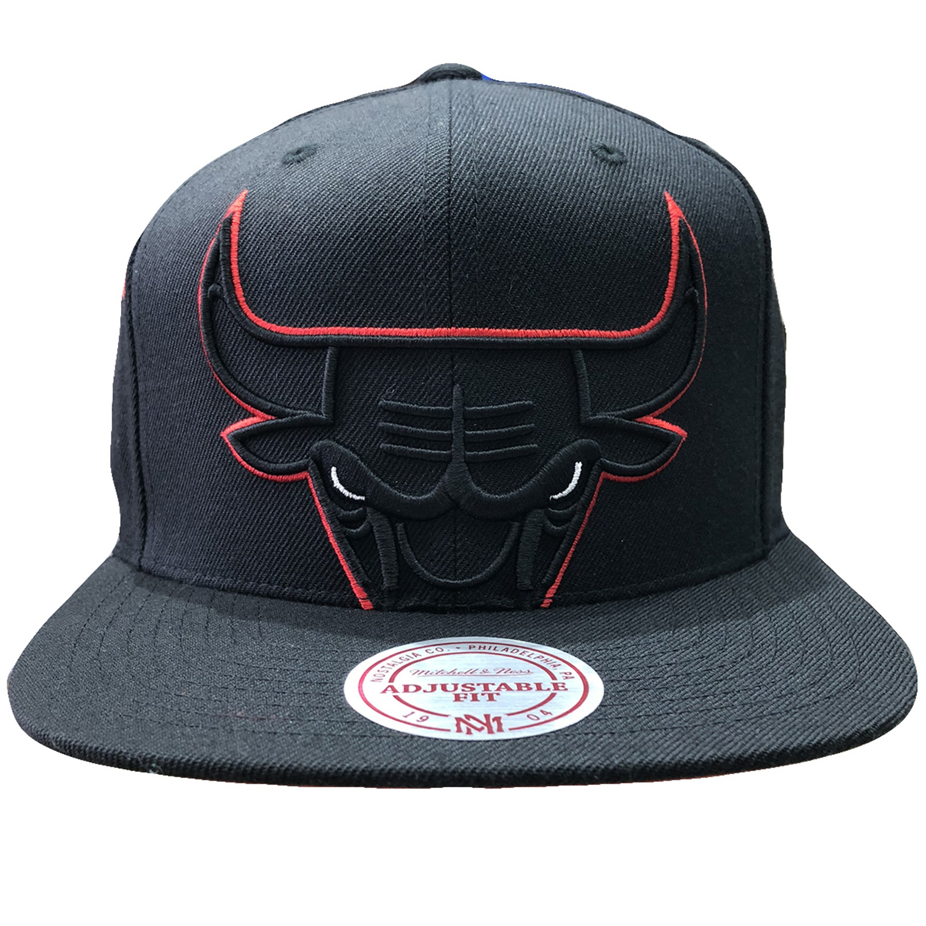 c81f764d7ff embroidered on the front of the chicago bulls mitchell and ness snapback  hat is the Bulls