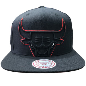 embroidered on the front of the chicago bulls mitchell and ness snapback hat is the Bulls logo embroidered in red, black, and white