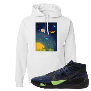 KD 13 Planet of Hoops Hoodie | Vintage Space Poster, White