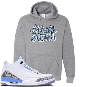 Jordan 3 UNC Sneaker Graphite Heather Pullover Hoodie | Hoodie to match Nike Air Jordan 3 UNC Shoes | Hustle Hard