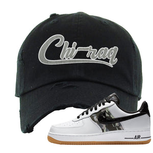 Air Force 1 Low Camo Distressed Dad Hat | Chiraq, Black