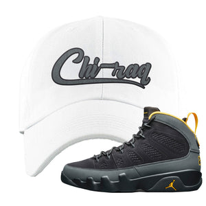 Air Jordan 9 Charcoal University Gold Dad Hat | Chiraq, White