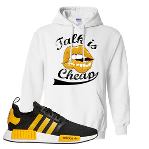 NMD R1 Active Gold Hoodie | White, Talk is Cheap