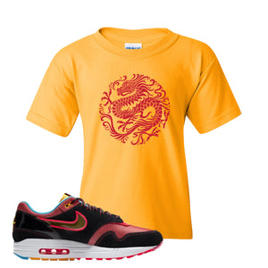 Air Max 1 NYC Chinatown Strength Of A Dragon Gold Kid's T-Shirt To Match Sneakers