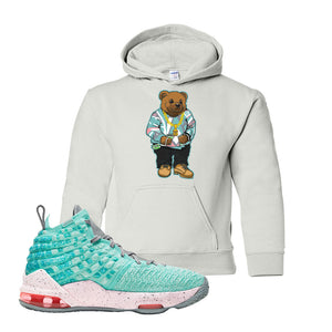 LeBron 17 'South Beach' Kid's Hoodie | White, Sweater Bear