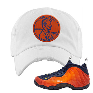 Foamposite One OKC Distressed Dad Hat | White, Penny