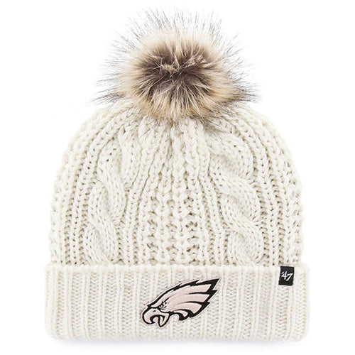 Philadelphia Eagles Women's Braided Knit Faux Vegan Fur Pom Beanie