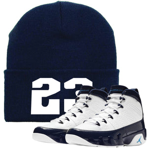 Jordan 9 All Star UNC Blue Pearl Sneaker Hook Up 23 Navy Beanie
