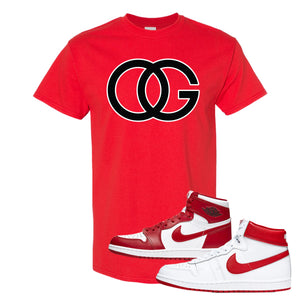 Jordan 1 New Beginnings Pack Sneaker Red T Shirt | Tees to match Nike Air Jordan 1 New Beginnings Pack Shoes | OG
