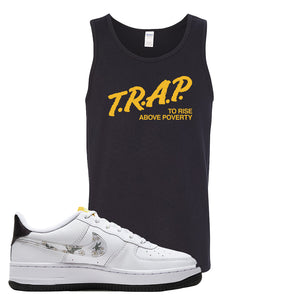 Air Force 1 Tank Top | Black, Trap To Rise Above Poverty