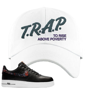 Air Force 1 Low Black Floral Dad Hat | Trap To Rise Above Poverty, White