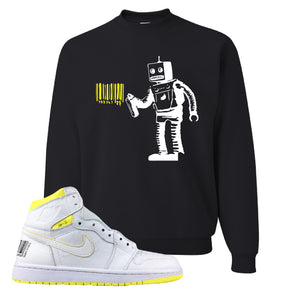 Air Jordan 1 First Class Flight Barcode Robot Black Sneaker Matching Crewneck Sweatshirt