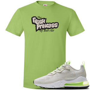 Air Max 270 React Ghost Green Sneaker Lime Green T Shirt | Tees to match Nike Air Max 270 React Ghost Green Shoes | Fresh Prince Of Bel Air