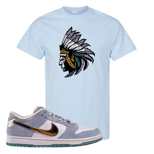 Sean Cliver x SB Dunk Low T Shirt | Indian Chief, Light Blue