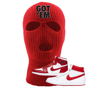Jordan 1 New Beginnings Pack Sneaker Red Ski Mask | Winter Mask to match Nike Air Jordan 1 New Beginnings Pack Shoes | Got Em