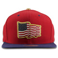 American Flag Fourth of July Gold Trim Red on Navy Blue Snapback Hat