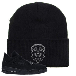 Air Jordan 4 Black Cat Cyber Lion Black Made to Match Beanie