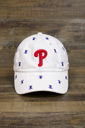 on the front of the Philadelphia Phillies Women's Dad Hat | Confetti Bell Print Red Strapback Baseball Cap is the current red Phillies logo