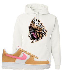 Nike Air Force 1 Pink Orange Hoodie | Indian Chief, White