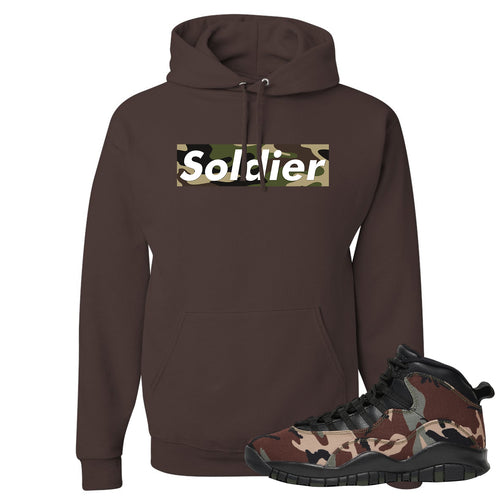Jordan 10 Woodland Camo Sneaker Matching Soldier Camo Box Logo Chocolate Pullover Hoodie