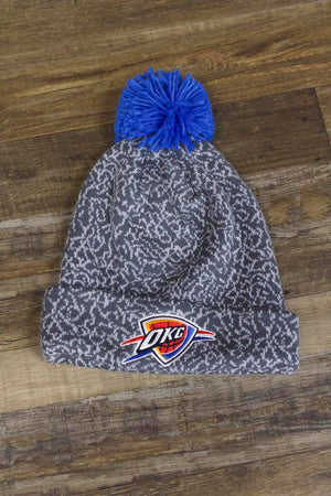 Jordan 3 Matching Oklahoma City Thunder Concrete Print Mitchell and Ness Gray Winter Pom Beanie