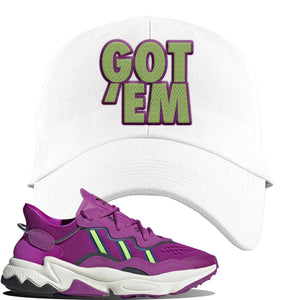 Ozweego Vivid Pink Sneaker White Dad Hat | Hat to match Adidas Ozweego Vivid Pink Shoes | Got Em