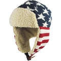 the top of the usa stars and stripes ushanka trapper hat has white stars on a blue background