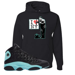 I Heart ÑY Doctor Black Pullover Hoodie To Match Jordan 13 Island Green Sneakers