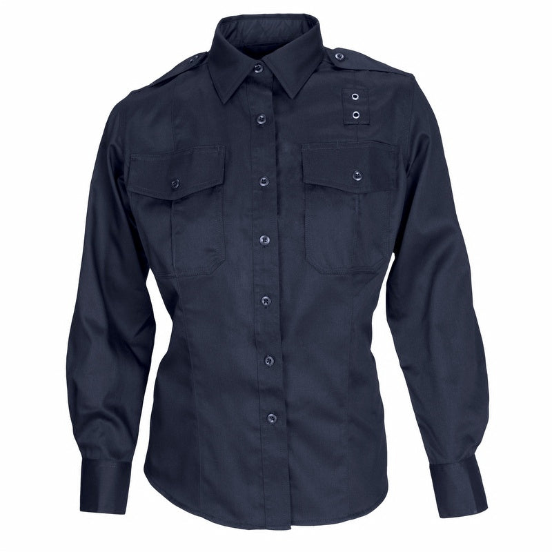 the Police Public Safety | Women's Tactical Long Sleeve Button Down Uniform Shirt | 5.11 Ladies Navy Blue Twill PDU Law Enforcement Duty Shirt has a badge loop and tactical details