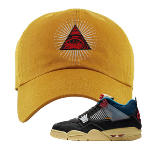 Union LA x Air Jordan 4 Off Noir Dad hat | All Seeing Eye, Wheat