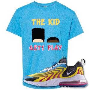 The Kid Gets Play Heather Sapphire Kid's T-Shirt to match Air Max 270 React ENG Laser Blue Sneakers