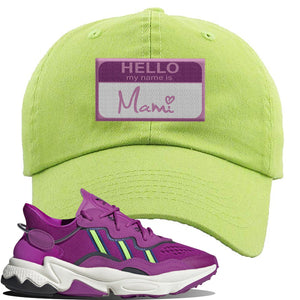 Ozweego Vivid Pink Sneaker Lime Green Dad Hat | Hat to match Adidas Ozweego Vivid Pink Shoes | Hello my Name is Mami