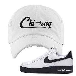 Air Force 1 Low White Black Distressed Dad Hat | White, Chiraq