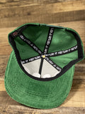 taping and detail of Kelly Green Corduroy Snapback | Corduroy Snapback for Embroidery | Foot clan for brand start up