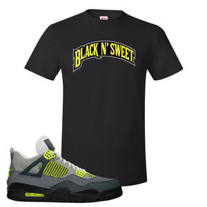 Jordan 4 Neon Sneaker Black T Shirt | Tees to match Nike Air Jordan 4 Neon Shoes | Black N Sweet Arch