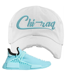 Pharell x NMD Hu Aqua Distressed Dad Hat | Chiraq, White