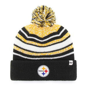 on the front of the pittsburgh steelers striped youth pom beanie is the pittsburgh steelers logo embroidered in white, red, yellow, black, and blue