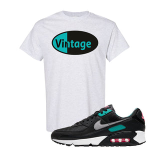 Air Max 90 Black New Green T Shirt | Vintage Oval, Ash