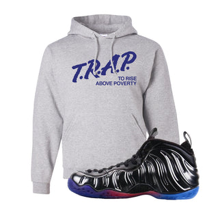 Air Foamposite One QS Gradient Soles Hoodie | Trap To Rise Above Poverty, Ash